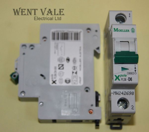 Moeller X Pole - PLS6-D6-MW - 6a Type D Single Pole MCB New